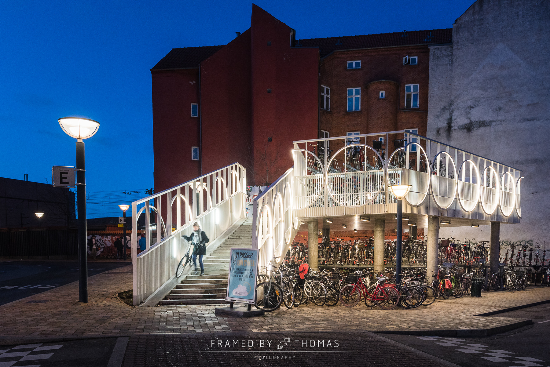 Odense, Denmark - December 9, 2015: Bicycle parking in Odense, D