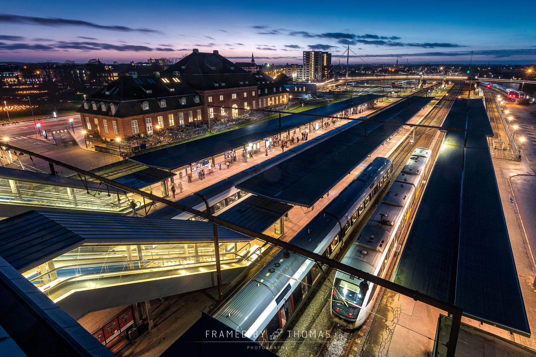 Odense central train station from above