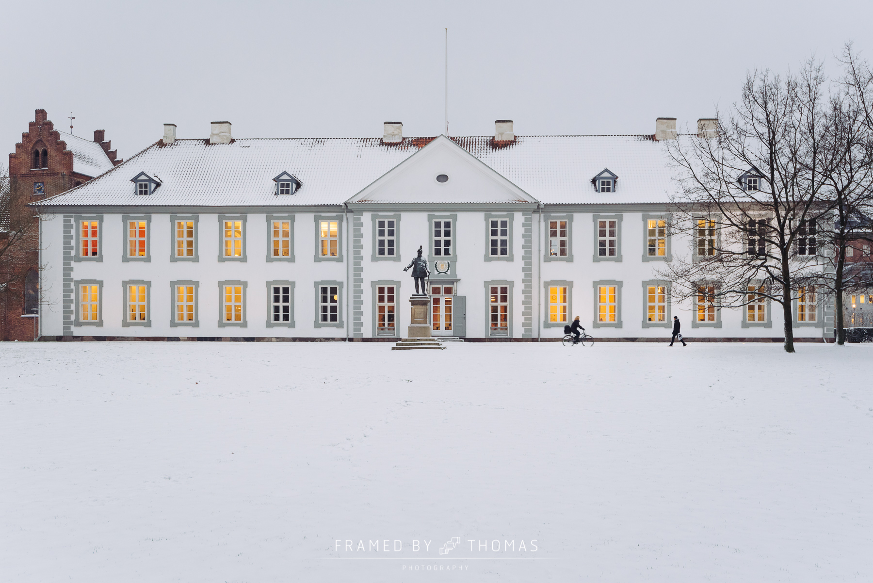 Odense, Denmark - January 8, 2015: The front of a snow covered O