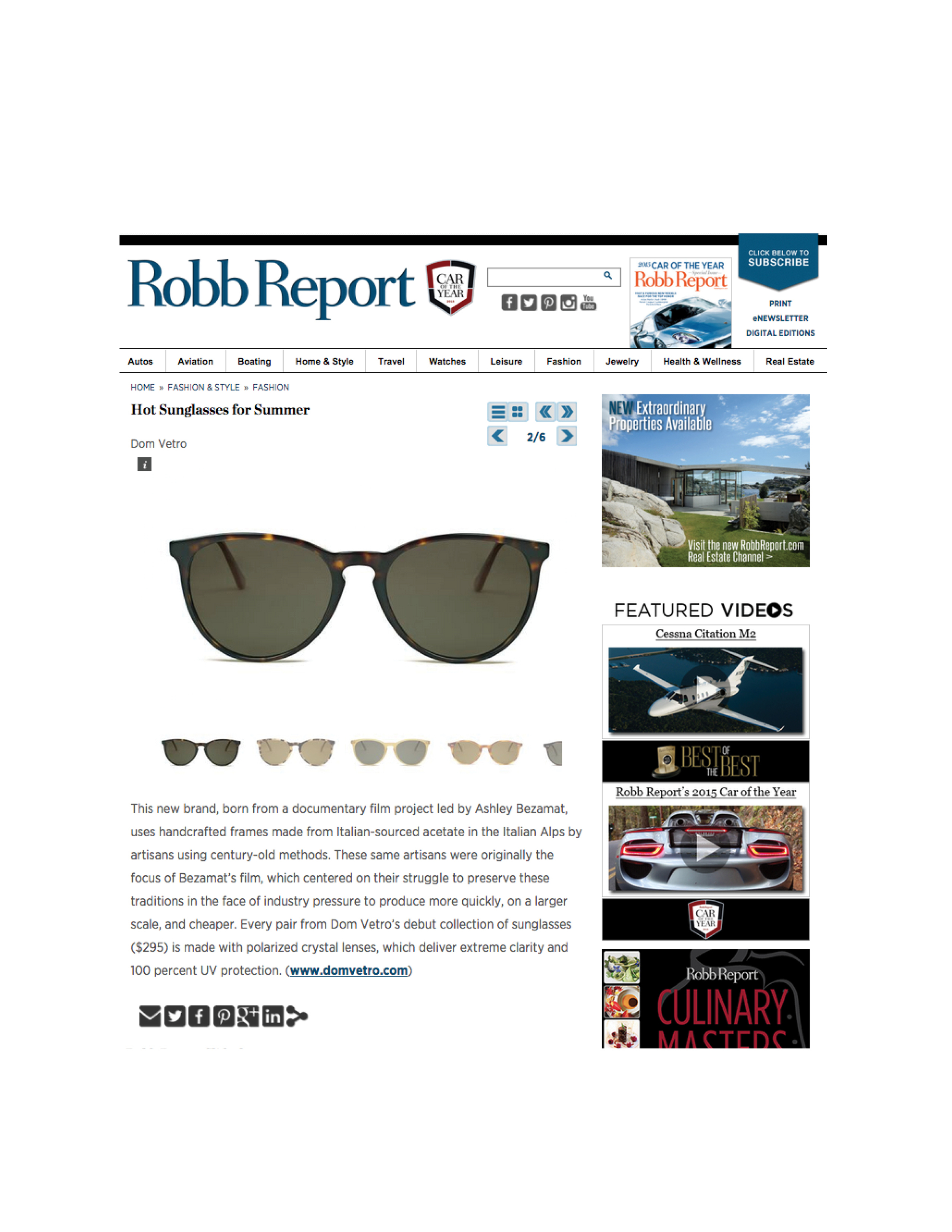 Robb Report   Hot Sunglasses for Summer