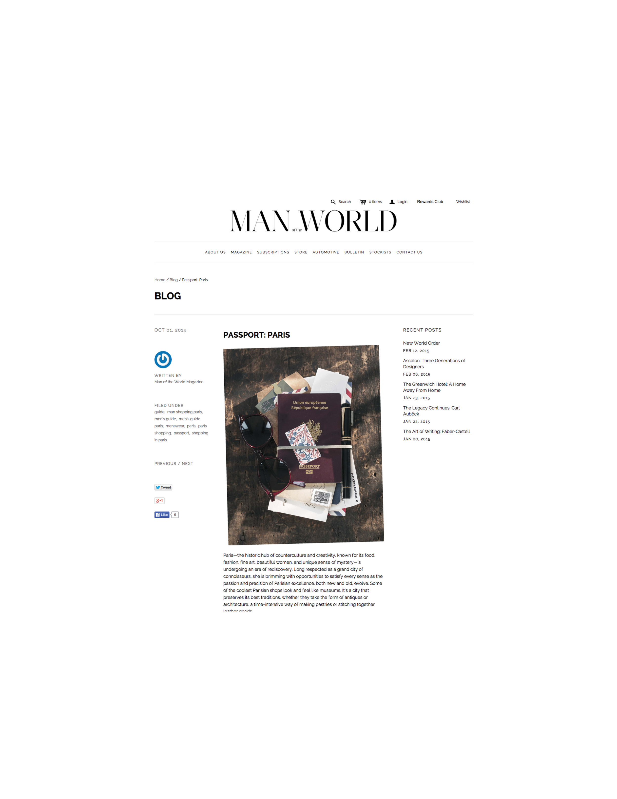 Man of the World   Passport: Paris