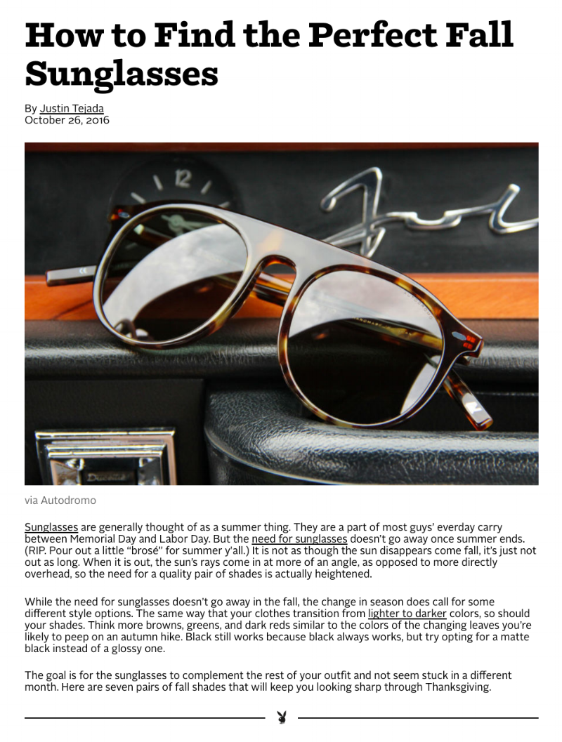 Playboy   Best Sunglasses Fall