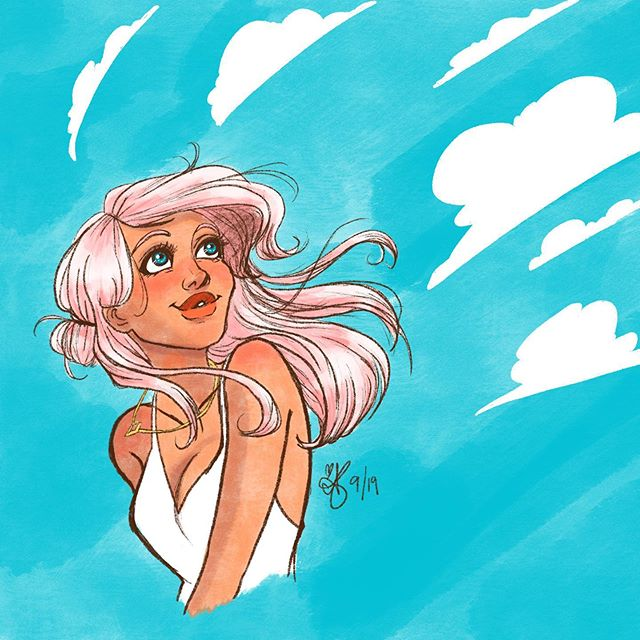 GOODBYE SUMMER ☀️ (I can't enjoy my pumpkin smorgasbord until you GTFO) . Another quick deviation from my lightbox lessons for this super fun #dtiys courtesy of @schmoedraws ! I tried something different and kept it more sketchy instead of inking. 👉Swipe for detail, sketch, and the beautiful original! #justletitbefall #stilldrinkingPSLsanyway #schmoesgoodbyesummer . . . . . #illustration #art #drawing #doodle #procreateapp #portrait #summer #digitalart #digitalpainting #characterdesign #artistsoninstagram #artistmom #clouds #pinkhair #sketch