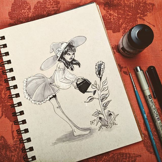 INKTOBER 👏 IS 👏 HERE! 👏 I actually drew this #herbology #witch a year or so ago but never fully inked her, so here's her debut! 🌻🧙 . 👉 Swipe to see some close-ups and a little video to catch the shimmer from the silver ink (which I LOVE). This year is all about not stressing over the daily drawing and instead experimenting with new tools and techniques! . Supplies used: Strathmore toned tan paper, black Micron 01 pen, Pentel pocket brush pen, Prismacolor gray markers, Liquitex silver ink + brush to apply. . . . . . . #inktober #inktober2019 #illustration #inkdrawing #drawing #tonedpaper #magic #gardening #artistsoninstagram #austinesocs #characterdesign #animation #girlsinanimation #asiangirls #ink #prismacolormarkers #micronpen #artistmom #artoftheday