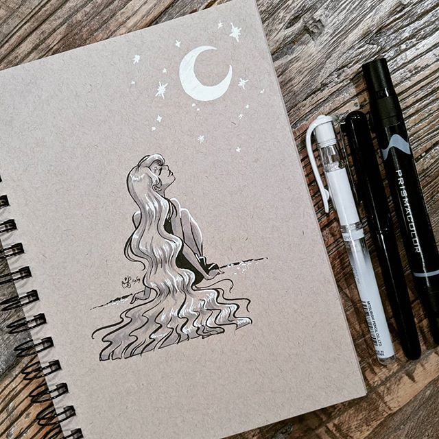 Inktober Day 2: MINDLESS 🌙😌 Needed a prompt so I referenced the official list by @jakeparker . Makes me want to get back into meditation... 🧘‍♀️ . Still getting the hang of my Pentel brush pen and struggled a bit with how wide the lines are from my Signo for the highlights. Only way to fix that is with more practice! 😁🤓 . Supplies used: Strathmore toned tan paper, Pentel pocket brush pen, Prismacolor gray markers, Signo white ball point pen. . . . . . . #inktober #inktober2019 #illustration #inkdrawing #drawing #doodle #mindless #tonedpaper #magic #moon #moonlight #dreaming #night #artistsoninstagram #austinesocs #characterdesign #animation #girlsinanimation #longhair #ink #outdoors #prismacolormarkers #pentelbrushpen #artistmom #artoftheday #meditation