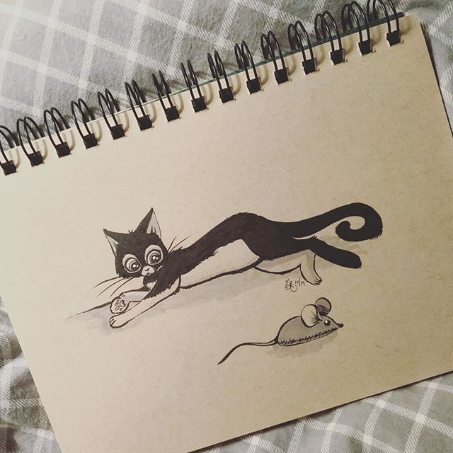 Inktober Day 3: Bait 🐭😼 Outside the comfort zone today, I generally don't draw animals (and almost didn't ink this sketch). But this month is all about breaking new ground, right?! 👉Swipe for a close-up, and a special appearance by the quasi-inspiration 🐾 . I'm Excited for tomorrow's drawing, I'm not quite sure what it'll be, but I have a technique/style in mind I want to try! Stay tuned! . . . . . #inktober #inktober2019 @inktober @jakeparker #inktoberday3 #illustration #drawing #doodle #inkdrawing #traditionalart #artistsoninstagram #artoftheday #catsofinstagram #catandmouse #cattoy #artistmom #tonedpaper #brushpen #markers #cat