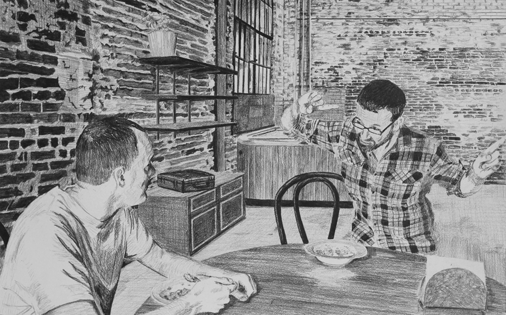 Waiting for Acceptance or Rejection  Ep 4 Scene 1 Graphite on paper