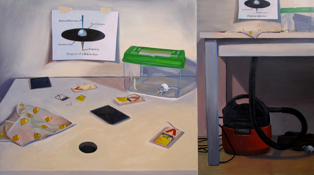 Building a Better Mouse Trap: A Black Hole  Oil on panel