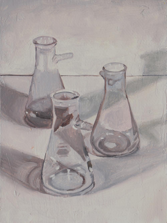Erlenmeyer Flasks  Oil on panel