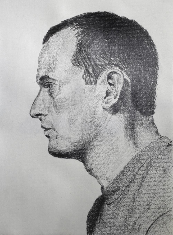 Self Portrait Profile  Graphite on paper