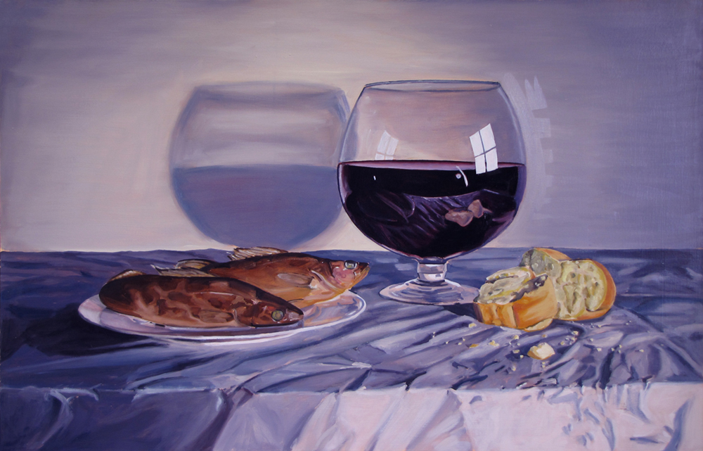 Three Bottles in One Glass or Dinner Time  Oil on paper