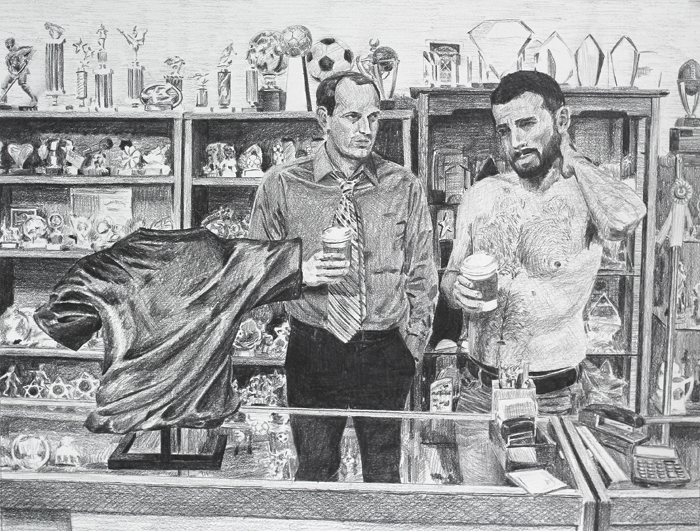 Bronzed Shirt with No Blood  Ep 1 Scene 4 Graphite on paper
