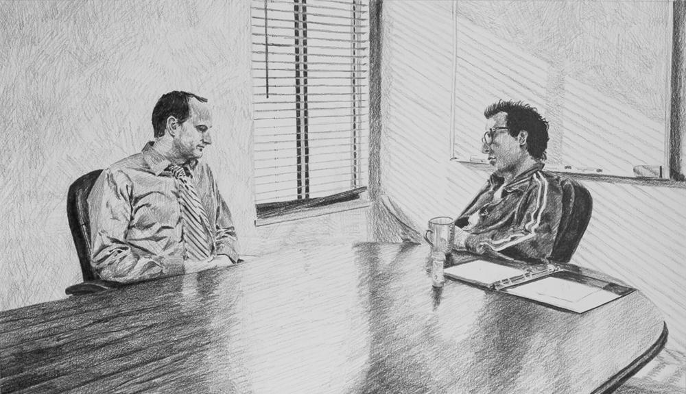 The Interview  Ep 1 Scene 1 Graphite on paper