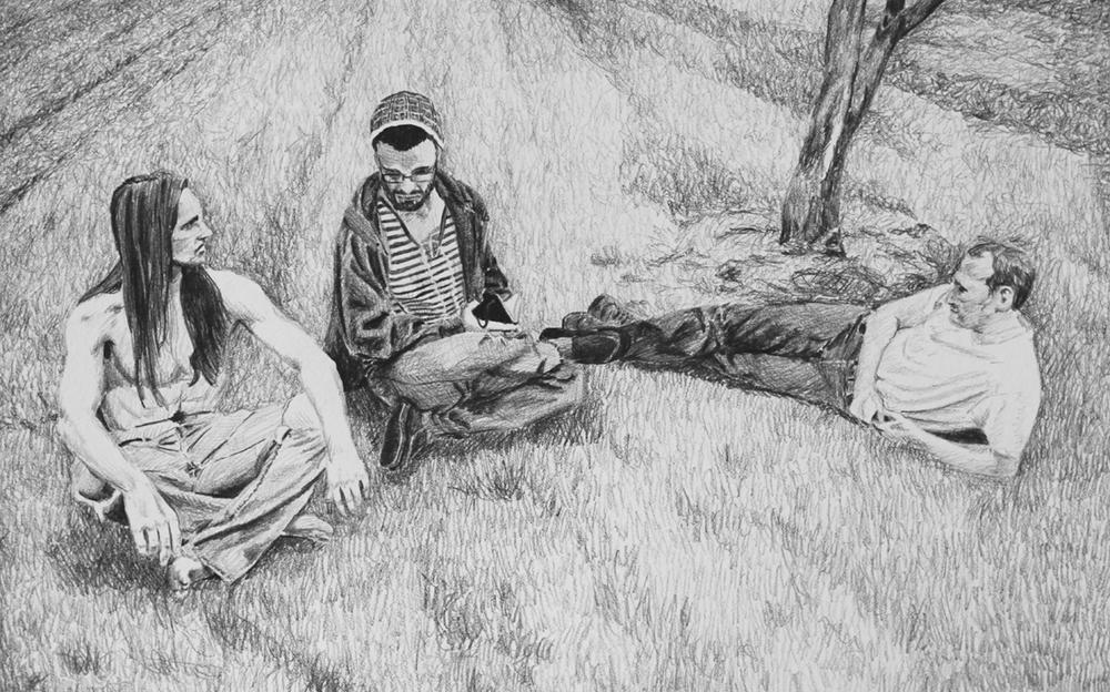 Sitting Pretzel Style Like Indian s Ep 2 Scene 4.2 Graphite on paper