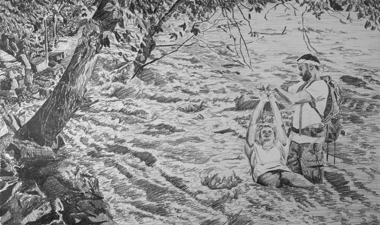 Rushing Rapids  Ep 3 Scene 4 Graphite on paper