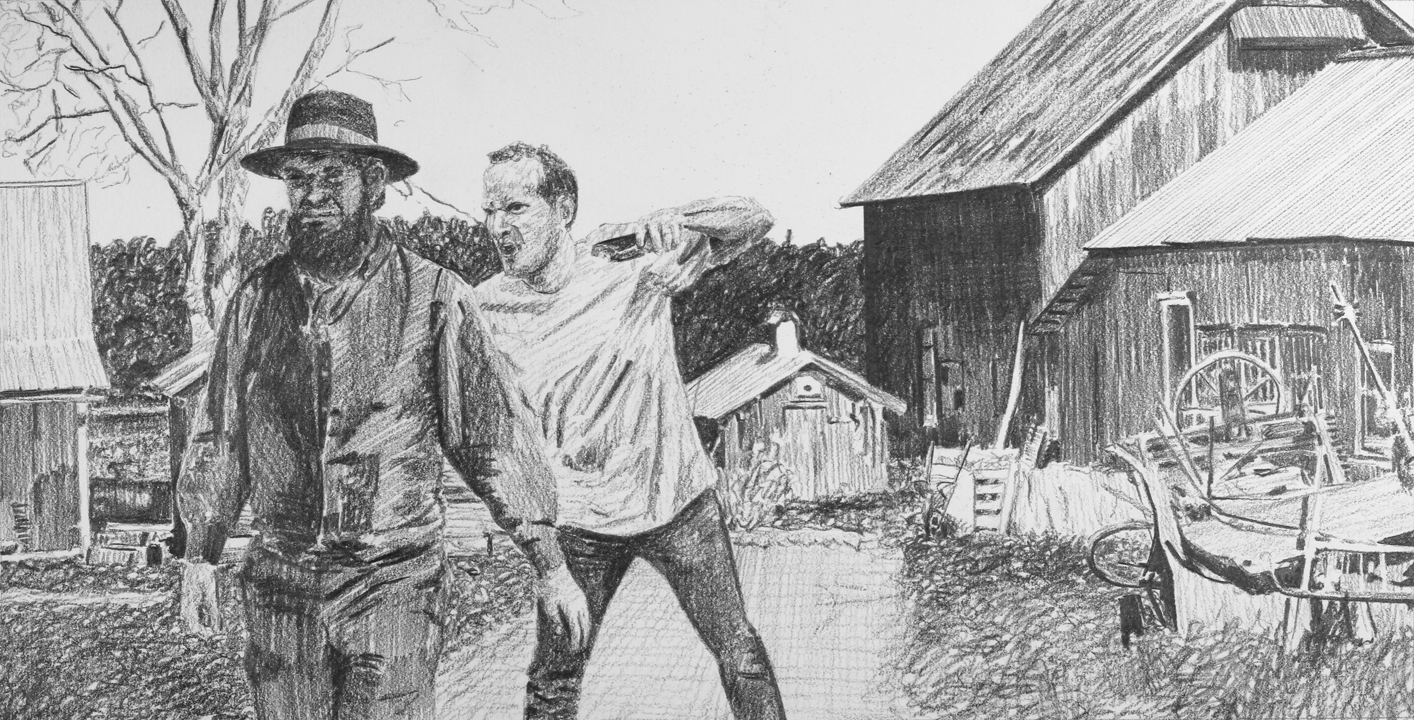 Attacking an Amish Man with a Taser  Ep 2 Scene 5.3 Graphite on paper
