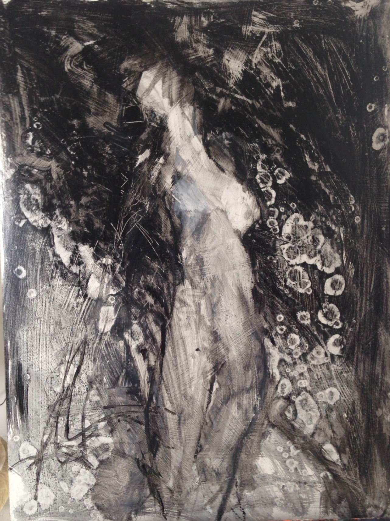 "Female abstract nude in black and white acrylic paint, ink and charcoal on 300 lb. paper, 30""x22"""
