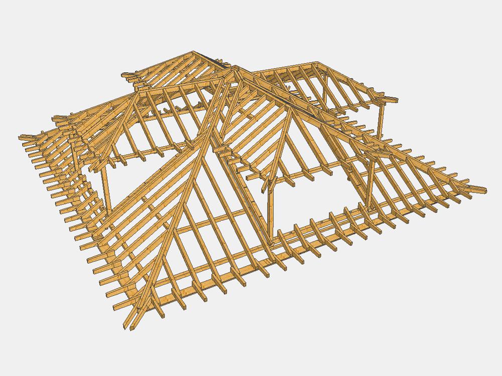 3D-Zeichnung Dachstuhl