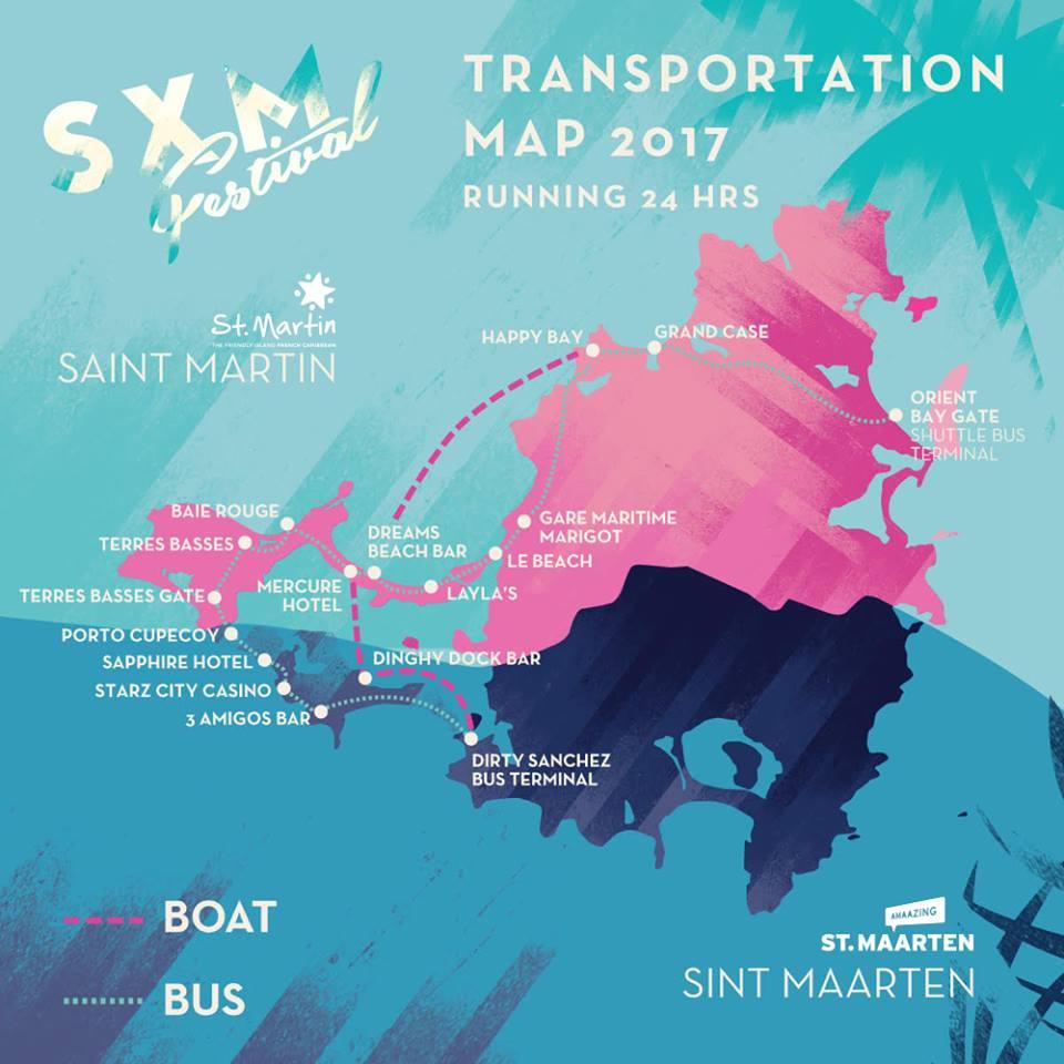 SXM Festival Shuttle Map Robbie Lumpkin Promotions