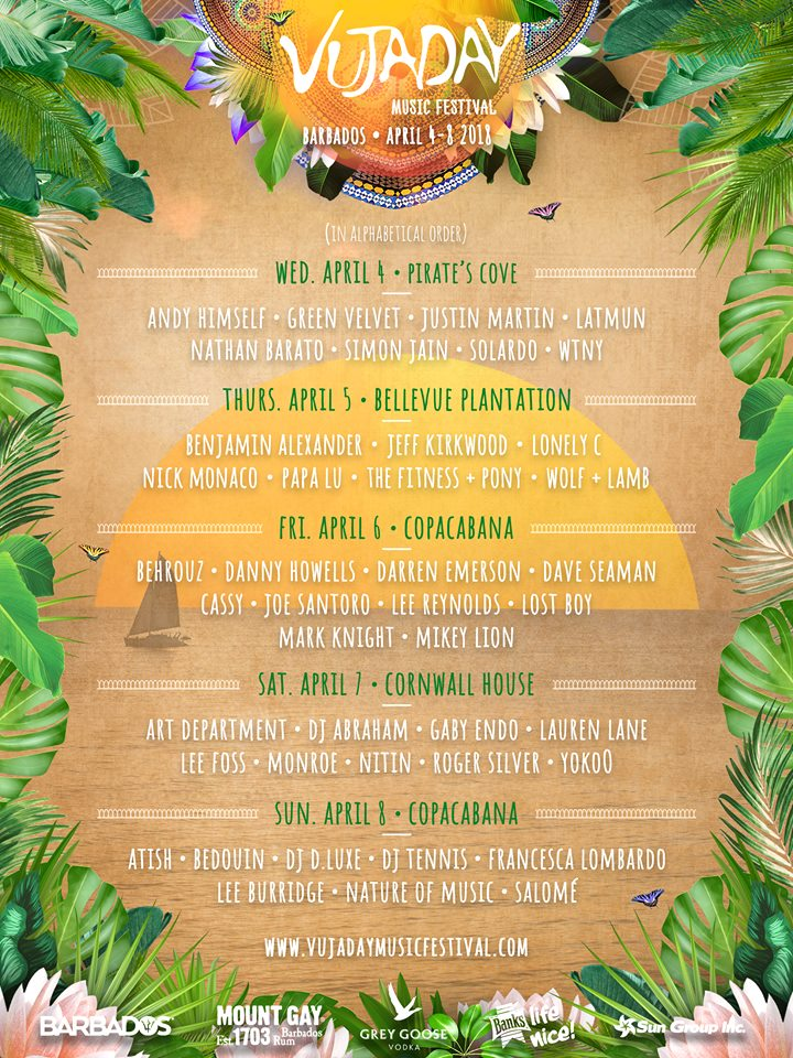 vujayday music festival full line up 2018 Robbie Lumpkin Promotions
