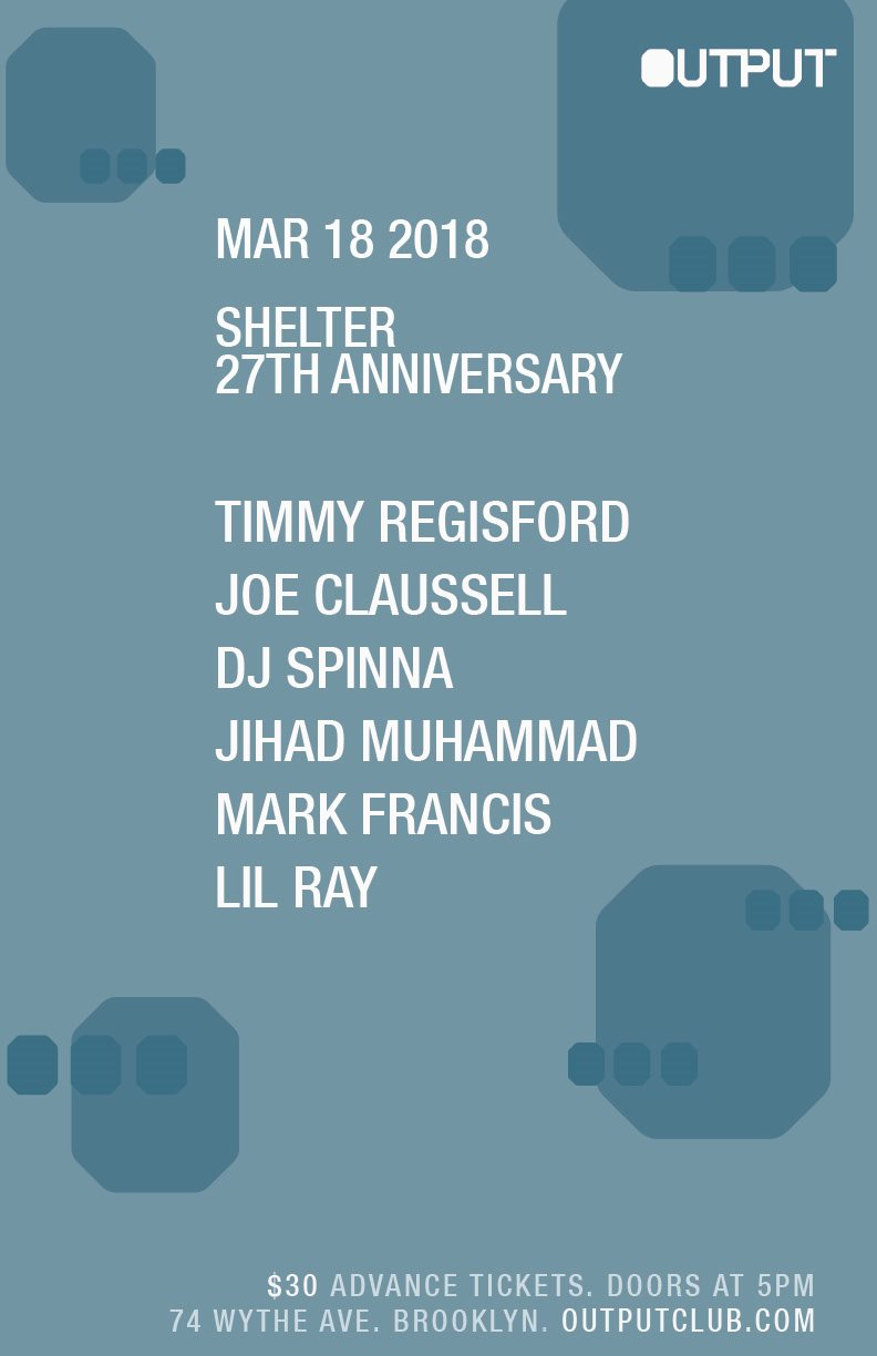shelter timmy regisford Output Robbie Lumpkin Promotions