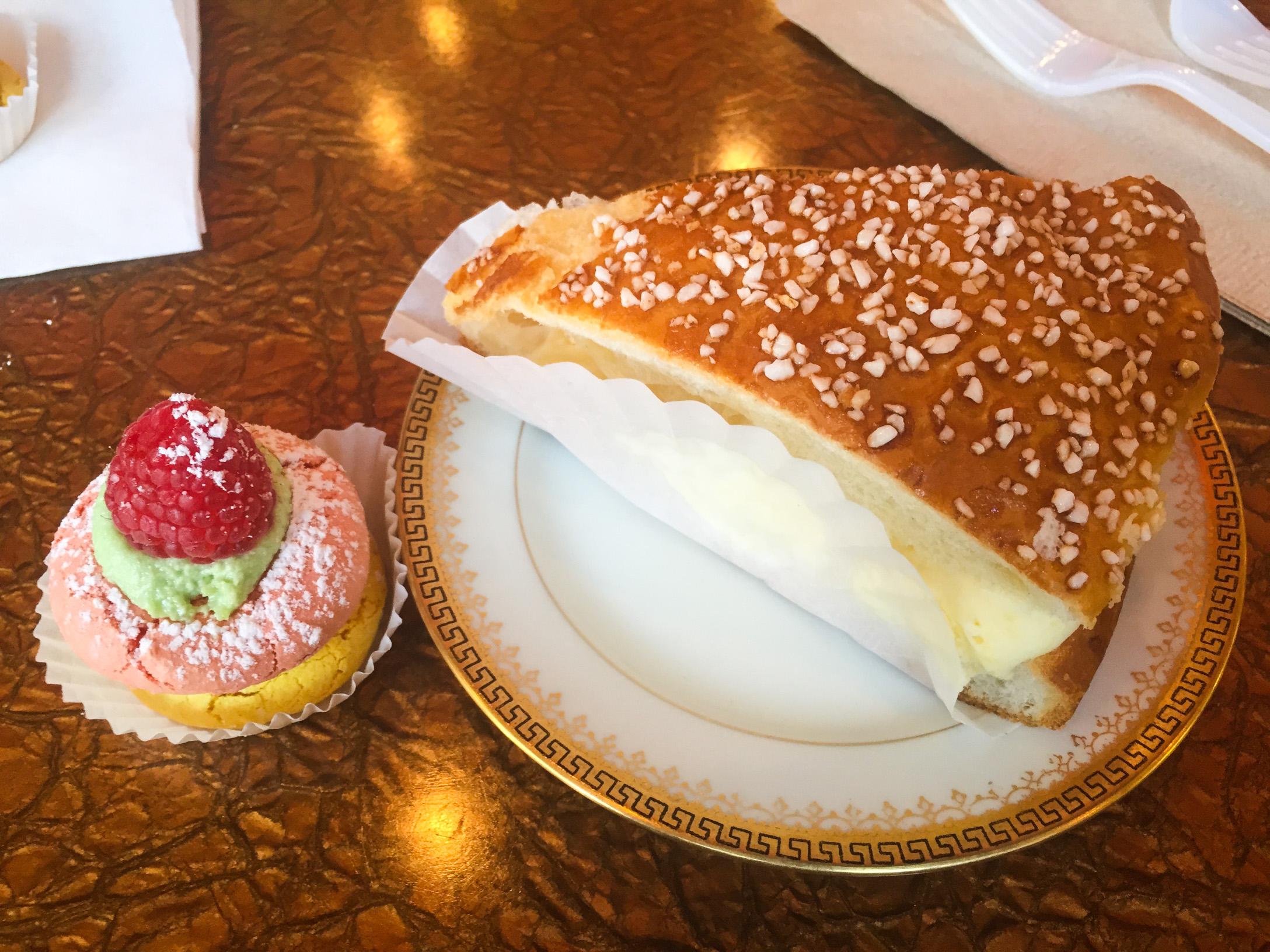 Raspberry-Pistachio Macaron and St. Tropez Cake