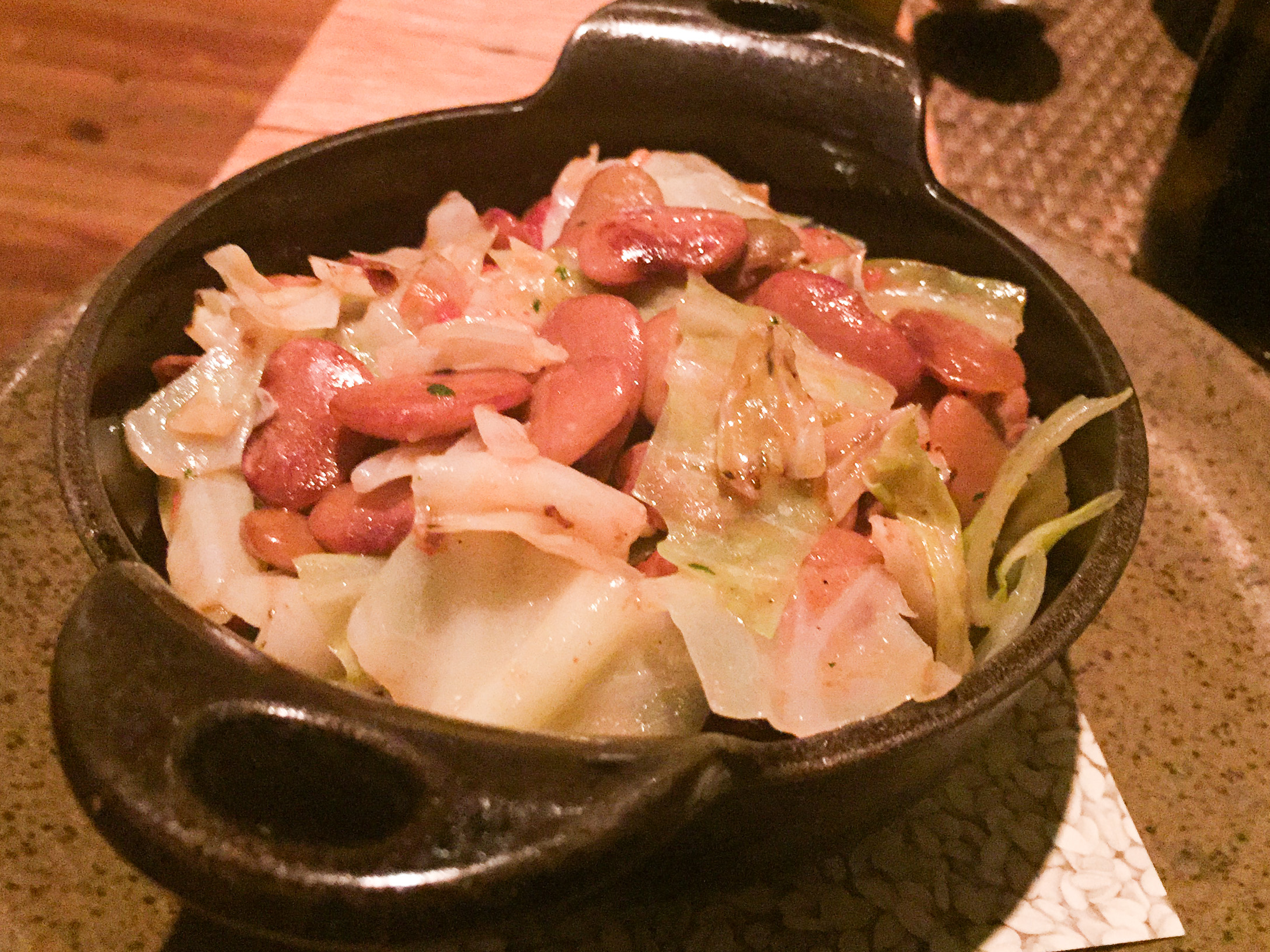 Pan Fried Cabbage, Smoked Pit Beans and Tomatoes