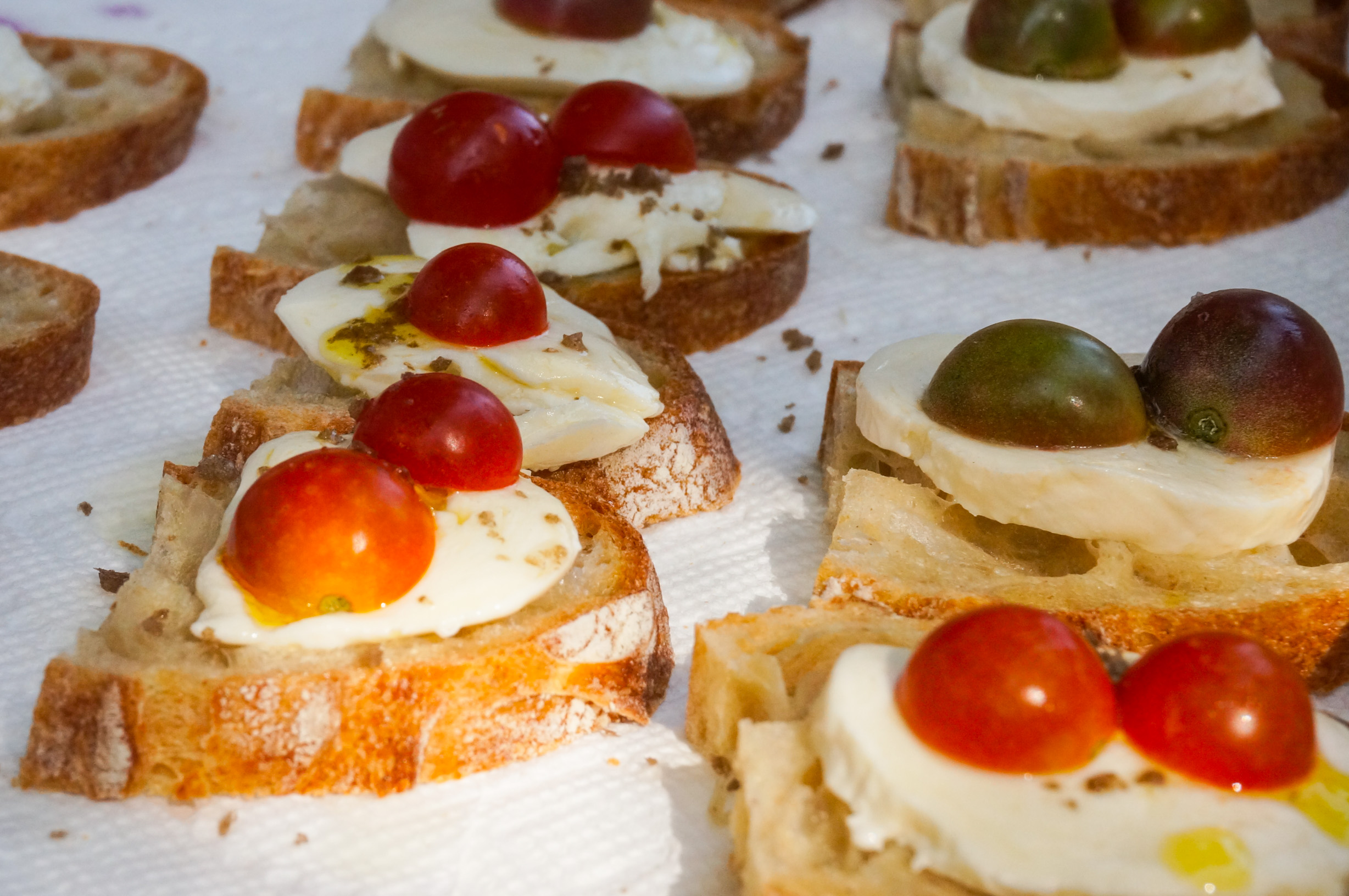Mozzarella, Tomato, and White Balsamic Crostini