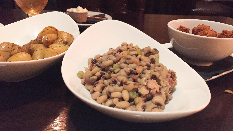 Crispy Potatoes, Black-eyed Peas, Chorizo Hushpuppies