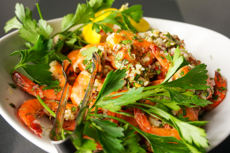 Shrimp in herb oil