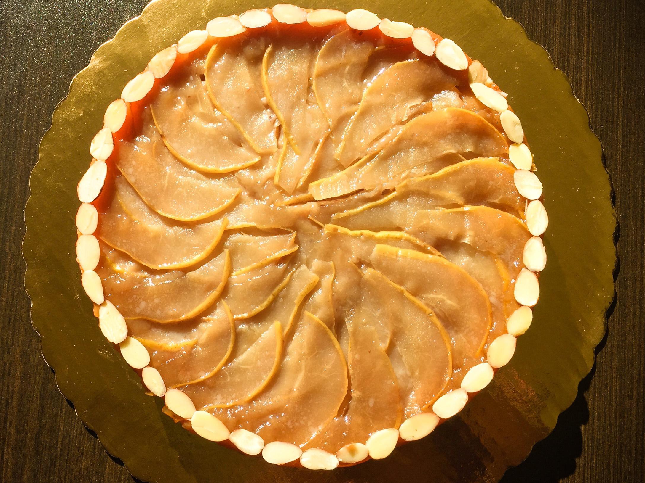 upside-down Pear-almond cake
