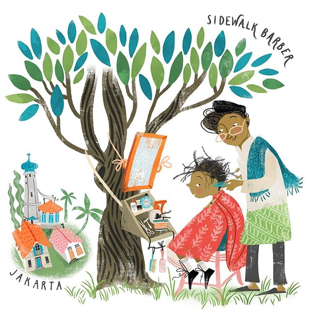 "Some times you can still see sidewalk barbers in Jakarta - or ""beneath-the-tree barbers"" as they are also called. The keep all their equipment in a box or bag that they can hang up together with a portable mirror. #lillarogersstudio #lillarogers #kidlitart #childrensbookillustration #kidlitillustration #asagilland"