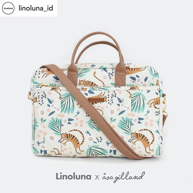 So happy about the collaboration of this laptop bag with my leaping tigers with @linoluna_id . You can find this new addition on www.linoluna.com 😊 #surfacedesign #itextiledesign #pattern #illustration #fabric #asagilland #linoluna #canvasbag