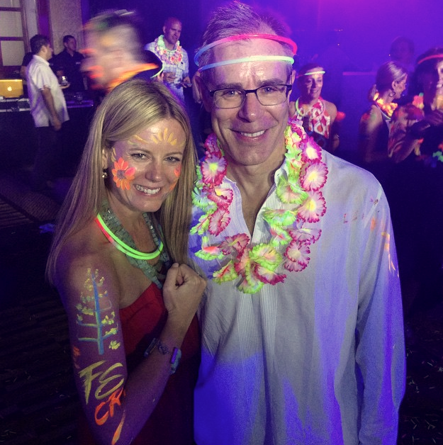 The Four Seasons logo was my design of choicewhen we were painted for theblack light after party... A fun twist on brand loyalty!  In this photo: Tracy Judge, CMP, Director of Business Development for Meetings & Incentives at Cadence, and Chris Hart, President of Operations for the Americas for Four Seasons Hotels & Resorts.