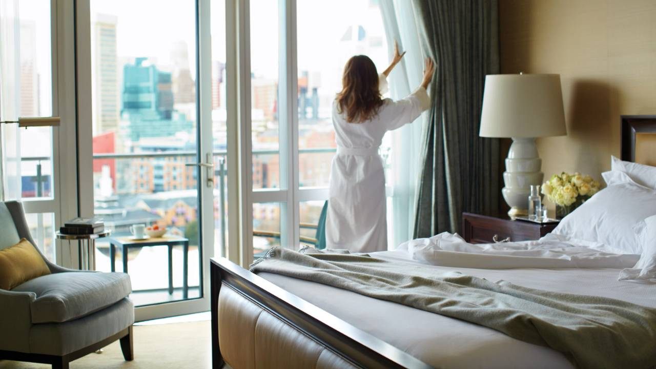 Extra time to relax: She just texted her order for her free in-room breakfast.
