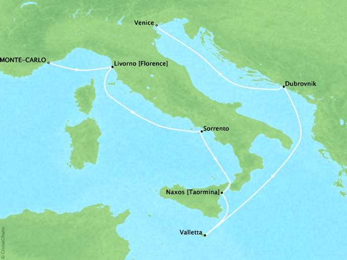 Mediterranean - Monte Carlo to Venice9 Nights, August 28, 2018Aboard Silver WhisperAsk about similar itineraries on alternate dates.Contact your personal travel advisor for our private pricing for new bookings.