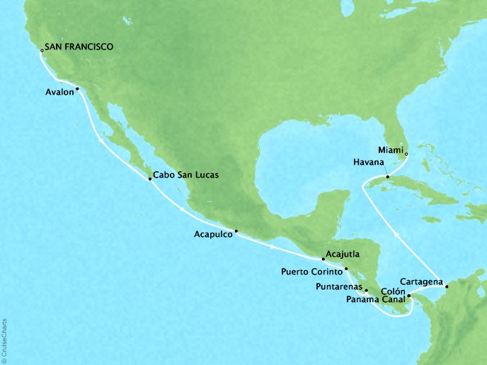 Pacific Treasures (19 Days) - October 8, 2018Ship: RegattaSan Francisco, CA to Miami, FLPerks: Your choice of a complimentary shore excursion or $150 in onboard pending money per personContact your personal travel advisor for pricing, similar itineraries, or alternate dates.