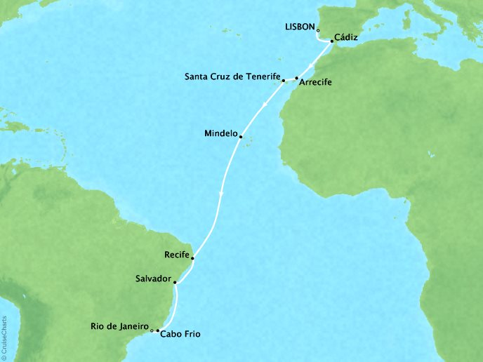 Atlantic Expedition (17 Days) - November 28, 2018Ship: MarinaLisbon, Portugal to Rio De Janeiro, BrazilPerks: Your choice of a complimentary shore excursion or $150 in onboard pending money per personContact your personal travel advisor for pricing, similar itineraries, or alternate dates.