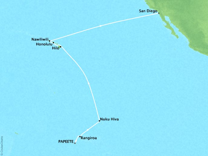 Polynesian Lullaby (17 Days) - March 16, 2019Ship: RegattaPapeete, French Polynesia to San Diego, CAPerks: Prepaid GratuitiesContact your personal travel advisor for pricing, similar itineraries, or alternate dates.