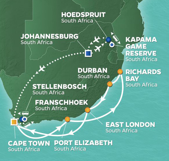 "10 Night South Africa IntensiveFebruary 10, 2020Azamara Quest®Roundtrip Cape Town, South Africa - A Micato Safaris ExperienceCome face to face with more than 40 species of mammals, including Africa's ""Big Five."""