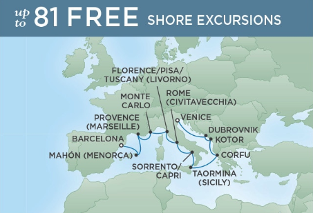 12 Night Best of the Med - Barcelona to VeniceApril 18, 2019Seven Seas Explorer®Exclusive amenity: $500 spa or onboard spending money per Suite