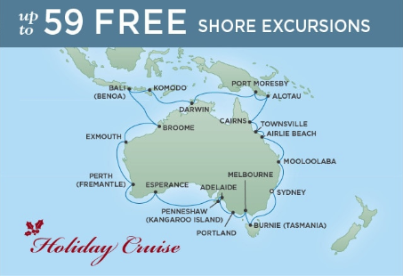 36 Night Circumnavigation of Australia - Sydney to SydneyDecember 15, 2018Seven Seas Mariner®Exclusive amenity: $500 spa or onboard spending money per Suite