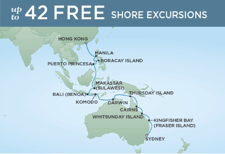24 Night Great Barrier Reef & Coral Sea - Sydney to Hong KongFebruary 12, 2019Seven Seas Navigator®Exclusive amenity: $500 spa or onboard spending money per Suite