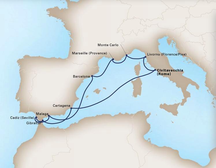 12 Day Mediterranean RivierasKoningsdam®Roundtrip Civitavecchia (Rome)June 12, 2019 -