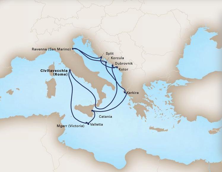 12 Day Mediterranean LegendsKoningsdam®Roundtrip Civitavecchia (Rome)July 29, 2019 -