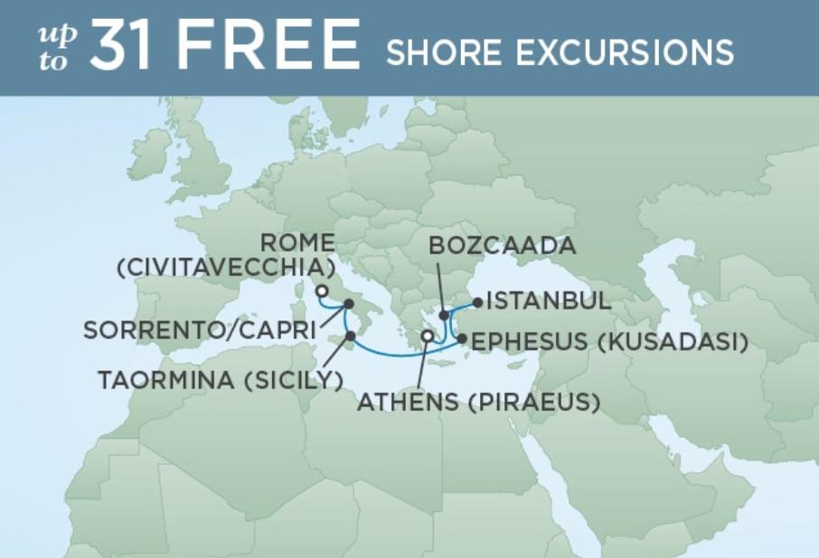 ROME (CIVITAVECCHIA) TO ATHENS (PIRAEUS) - CROSSROADS OF ANTIQUITY 8 NIGHTS DEPARTS OCT 08, 2019 SEVEN SEAS VOYAGER