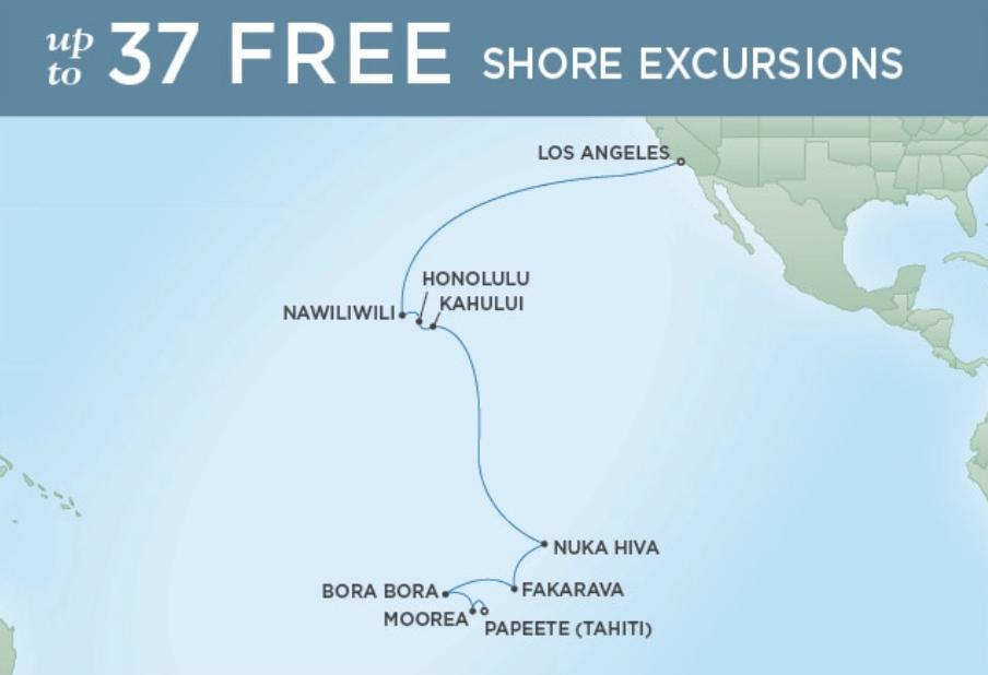 LOS ANGELES TO PAPEETE (TAHITI) - ALOHA TO EDEN 18 NIGHTS DEPARTS DEC 05, 2019 SEVEN SEAS NAVIGATOR