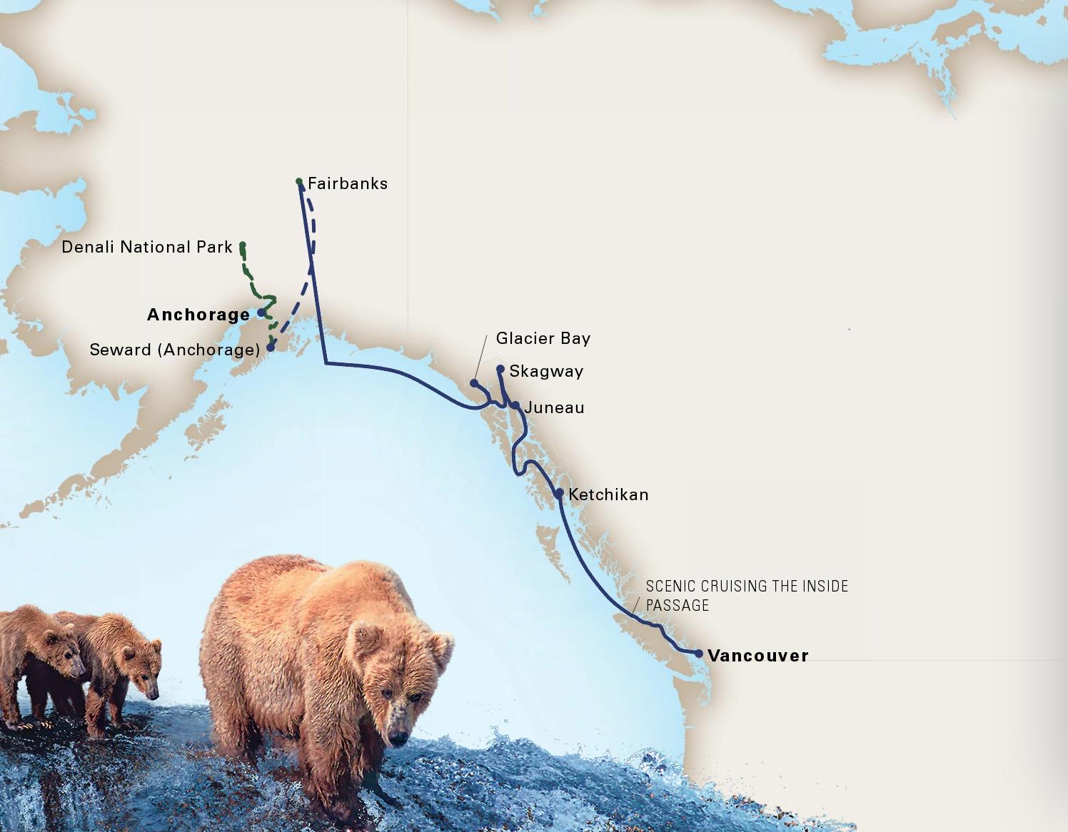 V7C: 10-Day DenaliShip NoordamVancouver, B.C., - Anchorage, AlaskaMay 10 - May 20, 2020 -