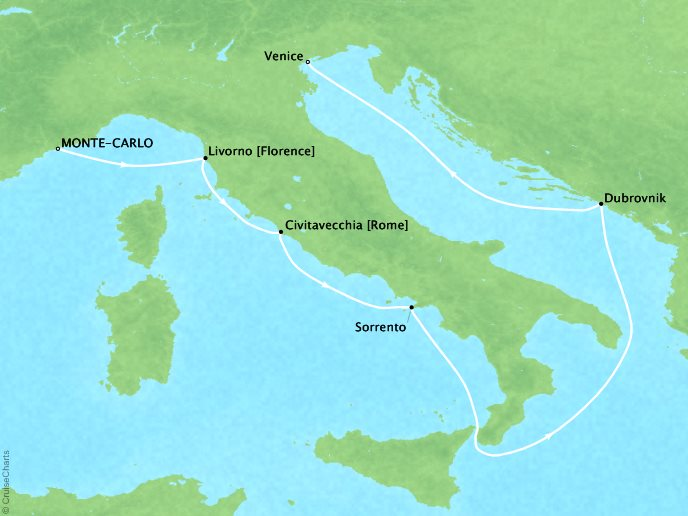 Featured Itinerary: - Monte Carlo to VeniceCrystal SerenityJuly 10, 2020 - July 19, 2020