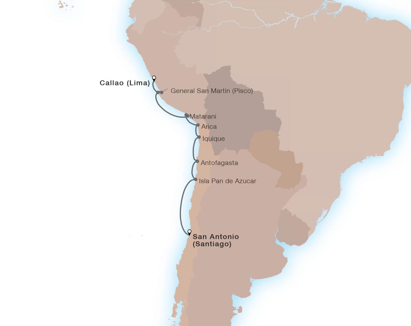 9-Day Treasures Of The Inca Coast - SEABOURN QUESTCallao (Lima), Peru to San Antonio (Santiago), Chile
